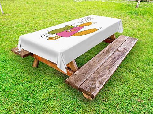 ABAKUHAUS Dier Tafelkleed voor Buitengebruik, Vos en Hare Knuffelen, Decoratief Wasbaar Tafelkleed voor Picknicktafel, 58 x 84 cm, Pink Amber Olive Green