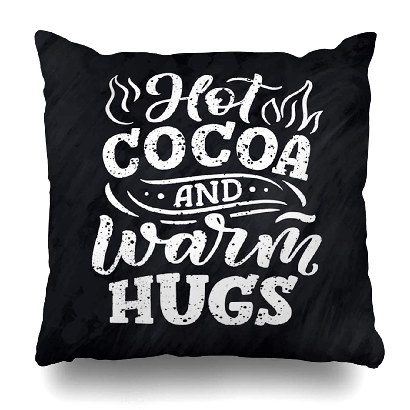 Ahawoso Throw Pillow Cover Square 20x20 Quote Autumn Hot Cocoa Hand Lettering Alphabet Latte Vintage Black Cacao Cafe Chalk Design Home Decor Cushion Case Pillowcase