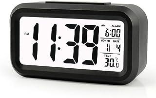 Cisixin LED Inteligente Reloj Despertador Digital, a 5 Minutos de Pausa, con Pantalla Grande, Cabezada, Fecha, Temperatura y Sensor de Luz (Negro)
