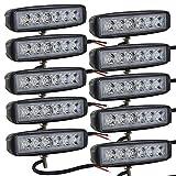 AUXTINGS 10 piezas 6 pulgadas 15.5cm 18W LED luces de trabajo Fog luces antiniebla Off Road luces de...