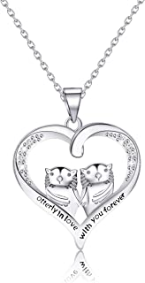 SEIRAA Otter Necklace Sea Otter Heart Pendant Necklace for Otter Lovers Otterly in Love with You Forever Birthday