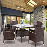 Wisteria Lane 5 Piece Outdoor Patio Dining Set, Wicker Glassed Table and Cushioned Chair, Umbrella Cut Out,Brown