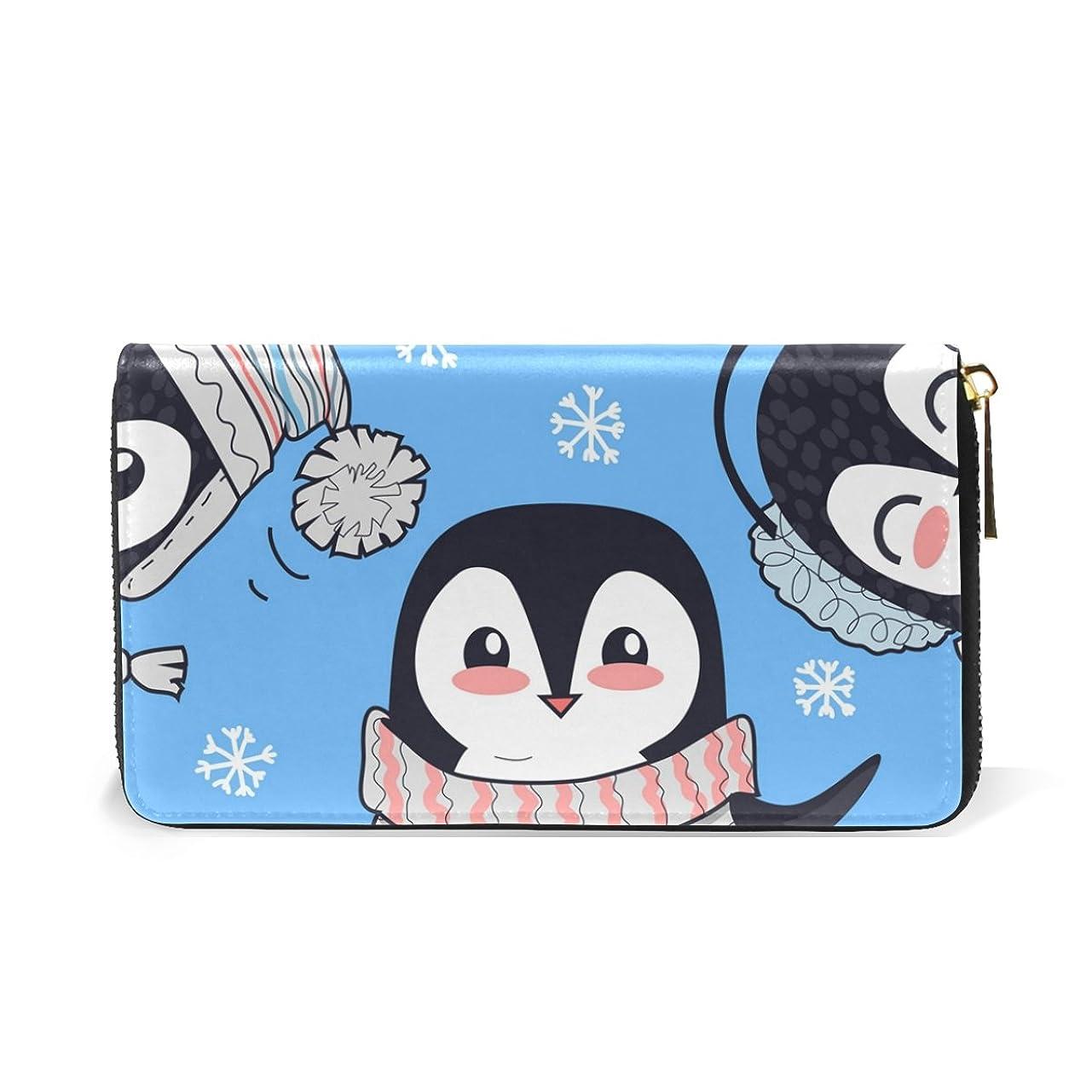 下に向けます集計ライトニングALAZA 財布 ペンギン柄 動物柄 本革 大容量 18枚 多機能 ラウンドファスナー 小銭入れ付 レディース 二つ折り