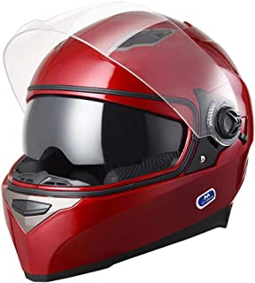 AHR DOT Motorcycle Full Face Helmet Dual Visors Lightweight ABS Street Bike Motorbike Touring Sports Adult
