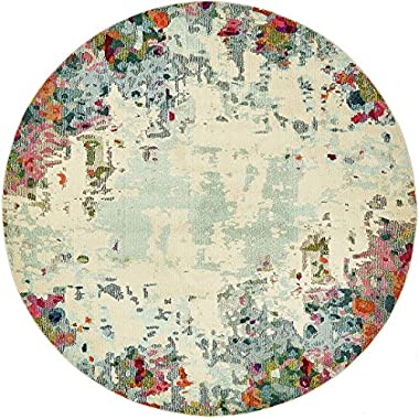 Island Collection Modern Contemporary Rugs Living Dinning Bedroom Area Rug 8' x 8' Round, Multi