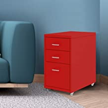 Filing Cabinet Storage Cabinets Steel Metal Home Office Organise 3 Drawer Red Red