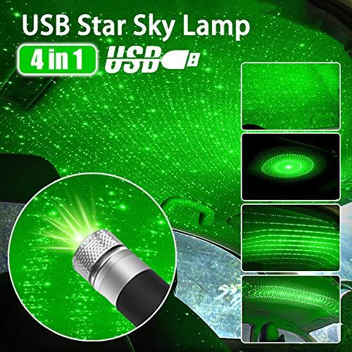 LAYXW LED Auto Dach Stern Nachtlicht 4 in 1 USB Auto Dach Atmosphäre Lampe einstellbare mehrere Lichteffekte