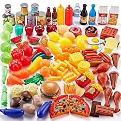 commercial Simfan Play Food Set, 143 Piece Play Food for Kids Kitchen-Assortment of Toys-Food for Imagination … play food set