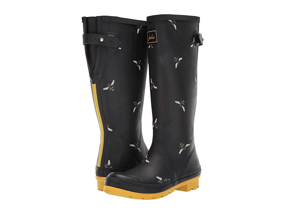 Joules Welly Print (Black Botanical Bees) Women