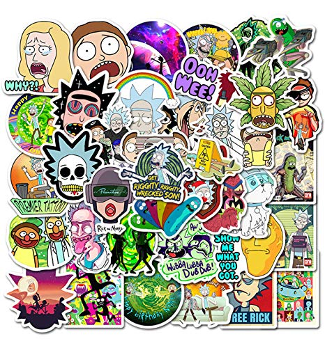 Pauplian 50PCS Graffiti Stickers Cartoon Stickers Waterproof Vinyl Stickers Supreme Stickers for Laptop, Car, Luggage, Skateboard, Motorcycle, Bumper, Guitar Funny Stickers and Decals (Rick and Morty)