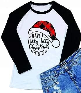 Have A Holly Jolly Christmas T-Shirt for Women Santas Hat 3/4 Sleeve Letter Print Raglan Baseball Shirt Tops