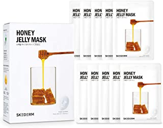 SKEDERM Honey Jelly Face Mask Sheet with Royal Jelly Hyaluronic Acid Cica Extract for Nourishing and Moisturizing, Pack of 10