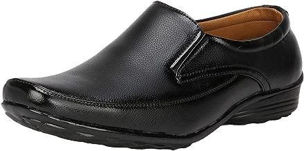Kraasa Men Synthetic Leather Office Black Formal Shoes Slip On for Men