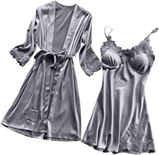 Kehen Women Pajamas Lace Trim Chemise Nightgown & Belted Wrap Robe Sleepwear Set