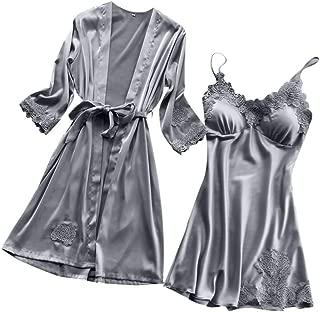 Women Lingerie Silk Lace Robe Dress Babydoll Nightdress Sleepwear Kimono Two Set