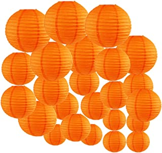 Just Artifacts Decorative Round Chinese Paper Lanterns 24pcs Assorted Sizes (Color: Orange)