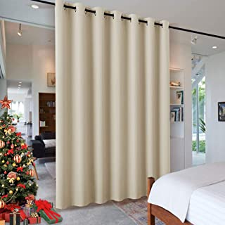 RYB HOME Wall Divider Curtain for Living Room, Noise Reduction Privacy Curtain with Anti-Rust Grommet Top Blackout Curtain for Living Room/Kids Room, 7 ft Tall x 8.3 ft Wide, Cream Beige, 1 Pack