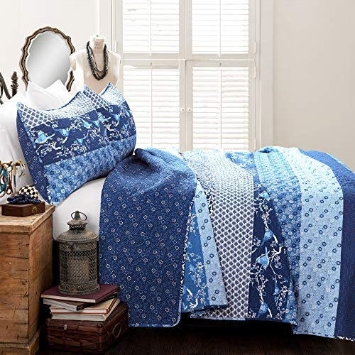 Lush Decor, Navy Royal Empire Quilt Striped Pattern Reversible 3 Piece Bedding Set, King