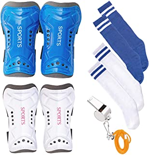 Wrzbest 2 Pair Kids Soccer Football Shin Guards Protector Calf Knee Protective Gear and 2 Pair Long Sleeve Socks with a Professional Referee Whistle for 3-13 Teenagers,  Boys,  Girls, Kids, Youth