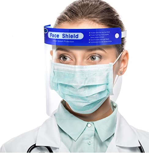 【US Stock,10 pack】Simsii Face Shields, Reusable Clear double side Anti-fog,Thickness 0.25mm, General Use Visor, Splas...