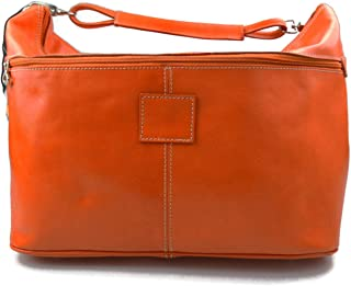 Leather Duffle Mens Women Leather Duffle Bag Orange Travel Bag Luggage carryon