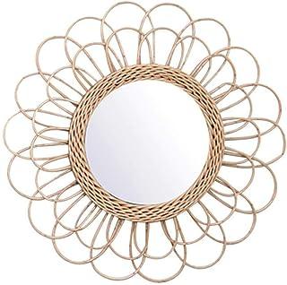 Apostasi Hanging Mirror Rattan Sunflower Circular Wall Mirror, Vintage Round Decor Boho Wicker Dressing Makeup Mirrors, Be...