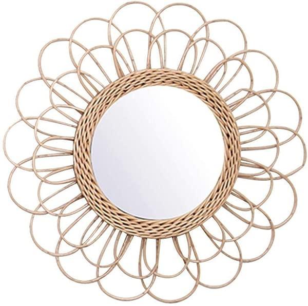 Tenrry Hanging Mirror Rattan Sunflower Circular Wall Mirror Decor Boho Wicker Dressing Makeup Mirrors