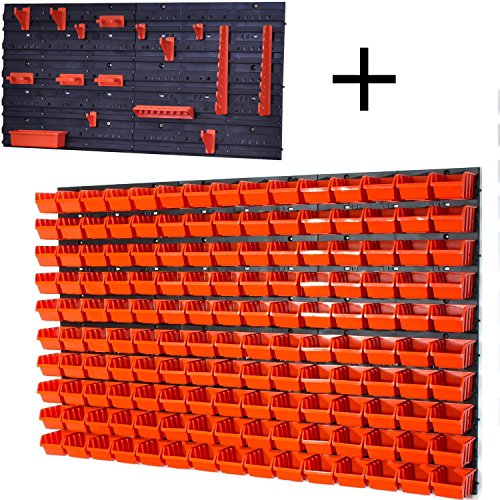 Panel organizador 6 paneles 150 cajas apilables con abertura frontal color naranja