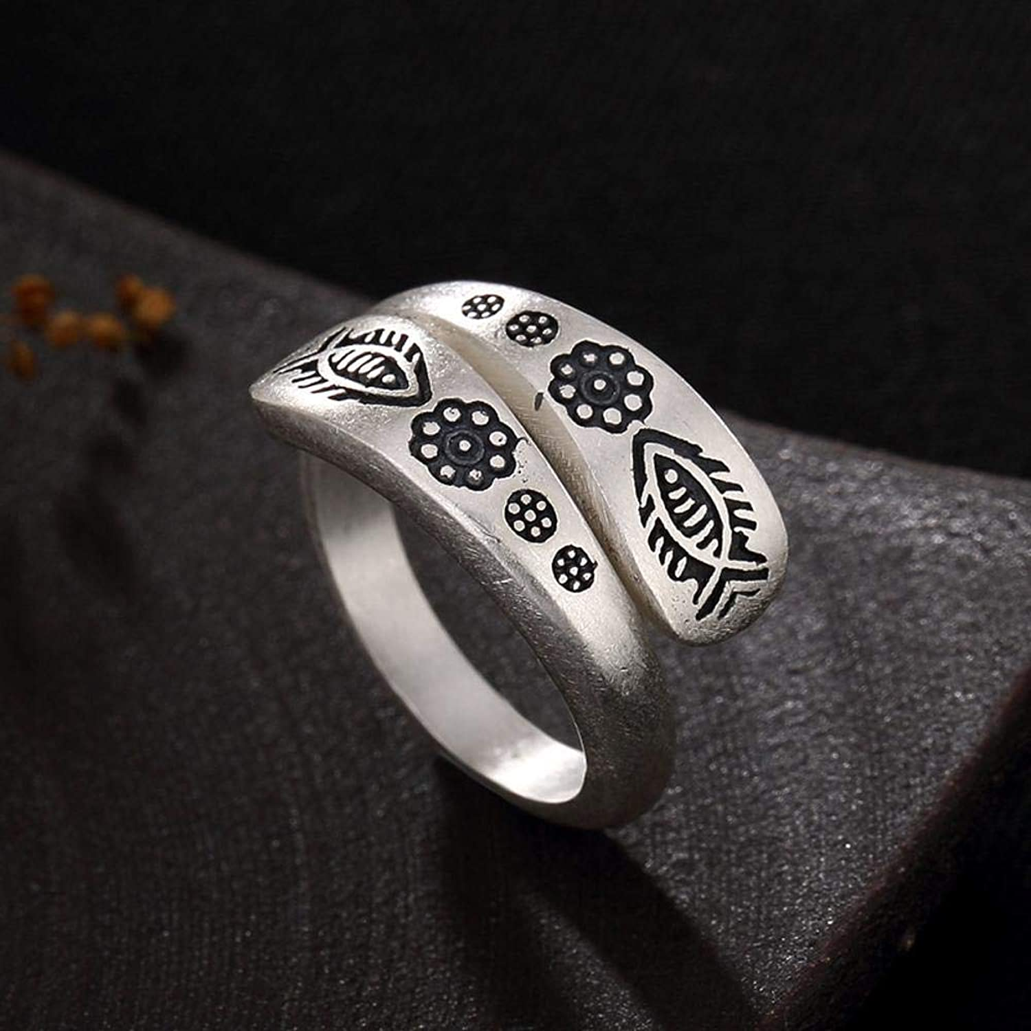 DTZH Rings Jewellery RingS990 Sterling Silver Indian National Wind Small Fish Pattern Relief Ring Give it to Dear People