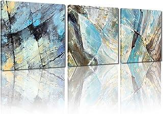 لوحة فنية تجريدية باللون الرمادي والأزرق من MELTBOR - طباعة عالية الدقة فن ديكور منزلي حديث لوحة زيتية - إطار داخلي خشبي ج...