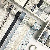 YUBX 12 rollo Washi Tape Set cinta adhesiva decorativa Washi Glitter Adhesivo de Cinta Decorativa para DIY Crafts Scrapbooking (Geometric Patterns)