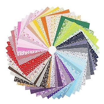 Konsait 56 Pieces 10 x 10 Inch Multi-Color Fabric Patchwork Cotton Mixed Squares Bundle Sewing Quilting Craft Craft Fabric Bundle Squares Patchwork DIY Sewing Scrapbooking Quilting Dot Stripe
