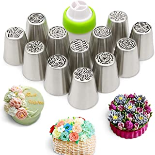 Russian Piping Tips Set 13 Pieces Flowers Cake Decorating Set - 12 Icing Nozzles 1 Tri Color Coupler - Cupcake Decorating Supplies Frosting Icing Tips Baking Supplies