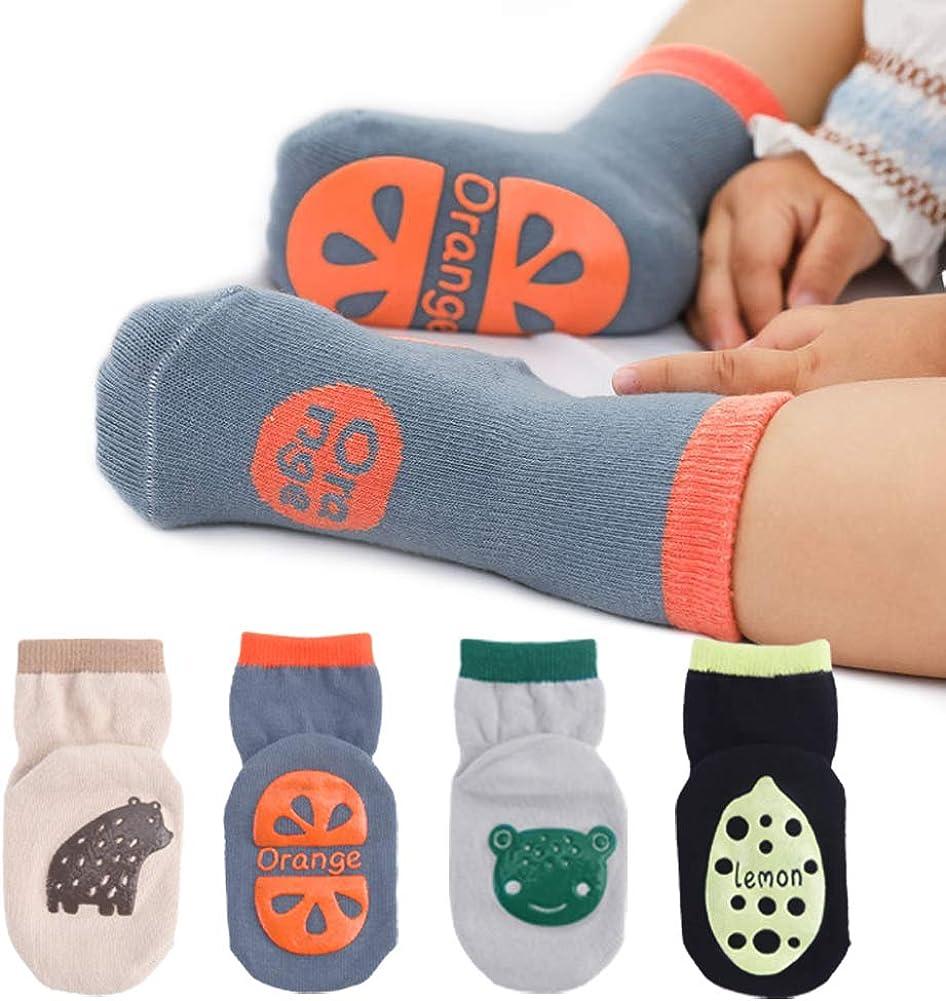 OLABB Baby Socks for 1-3 Year Old Boys Girls Non Slip/Skid with Grips Toddler Ankle Crew Socks