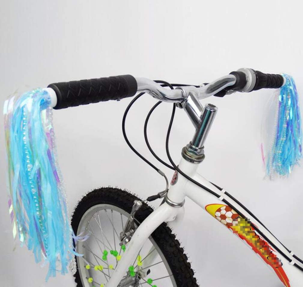 UPSTORE 1 Pair Blue Handlebar Streamers with Bead Bike Handle Colored Grips Sparkle Tassel Ribbon Lovely Baby Carrier Scooter Bicycle Trike Decoration Accessories for Childrens Kids Baby Toddlers