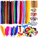TUPARKA 1220 Pcs Arts and Crafts Supplies Set Includes Pipe Cleaners Pom Poms Buttons Wiggle Googly Eyes Buttons Sequins for Craft DIY Art Projects