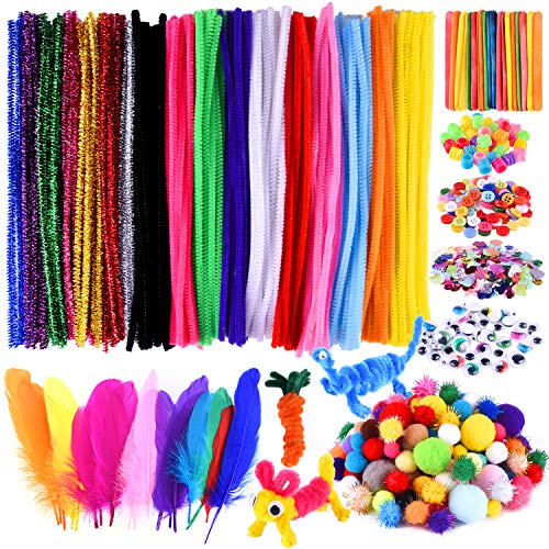 TUPARKA Arts and Crafts Supplies Set Kids DIY Supplies Include Pipe Cleaners, Pom Poms, Craft Sticks, Buttons, Sequins for Craft DIY Art Supplies
