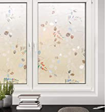 rabbitgoo Frosted Glass Window Film Static Cling Privacy Film Non-Adhesive OpaqueWindowFilm Frosted Leaf Window Coverings for Home Office 35.4 x 70.8 inches