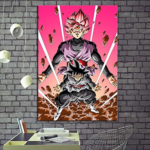 Artwcm Super Saiyan Roze Black Goku Oil Paintings Modern Canvas Prints Artwork Printed on Canvas Wall Art for Home Office Decorations-971 (Unframed,20x30inch)