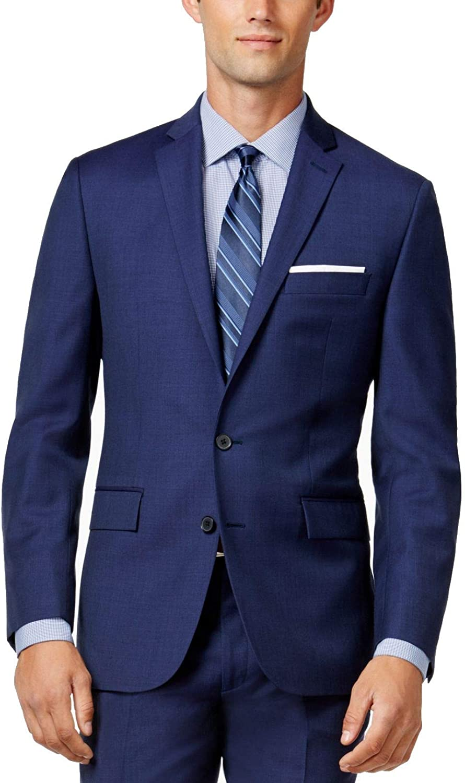 Ryan Seacrest Blue Solid Wool Two Button New Men's Sport Coat