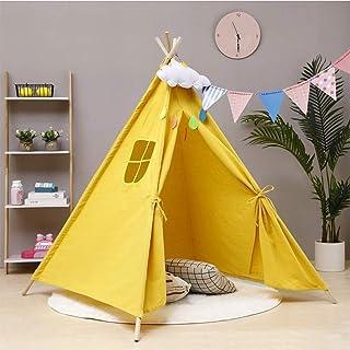 HB.YE Barn Teepee Tipi Wigwam tält hopfällbart barn lekstuga baby leker tält för flickor pojkar inomhus utomhus (gul)