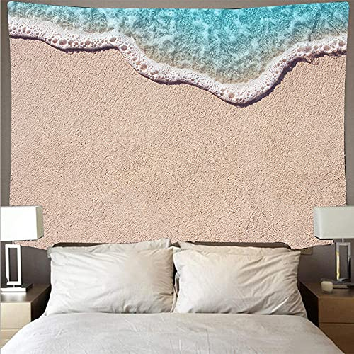 ydlcxst Tapestry Bohemian Blue Seaside Sunset Waves Beach Art Deco Tapestry Indoor Living Room Bedroom Wall Decoration 220X240Cm /9599