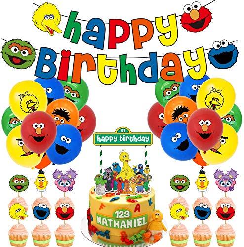 REYOK Sesamstraße Kindergeburtstag Deko Kit Geburtstagsdeko Junge, Geburtstag Folien Luftballon Happy Birthday Banner Kuchendeckel für Babyshower Kinder Baby Junge Party