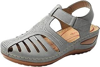Apoorry Vintage Sandalen voor Vrouw Zomer PU Lederen Gesp Casual Naaien Retro Vrouwen Schoenen Vrouwelijke Platform Retro ...