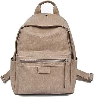 Daypacks Women's Pu Leather Backpack Purse Casual Shoulder Bag School Bag Laptop Backpack for Girls (Color : Khaki)