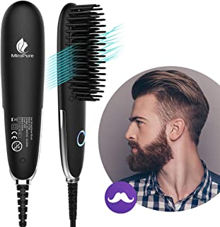 Miropure Beard Straightener for Men,  Mini Beard Straightening Heat Brush Comb Ionic - Electric Dual Voltage (100V-240V) - For Home & Travel