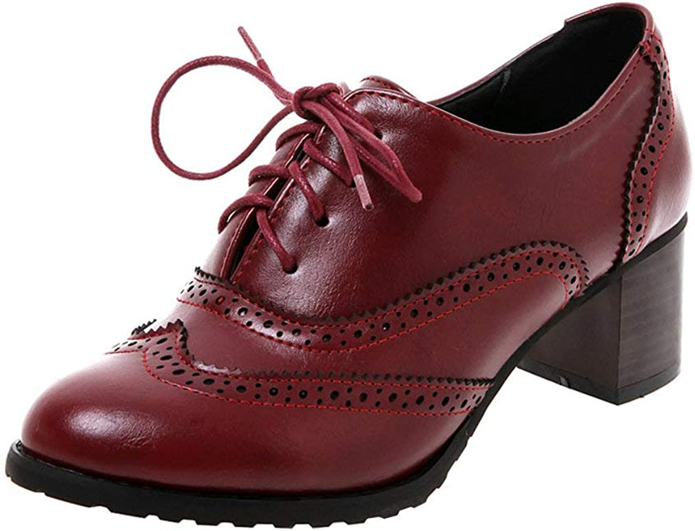 LUXMAX 5 ☆ popular Womens Plaid Lace Up Max 49% OFF Brogues Shoes Wingtip Oxfords Stacke