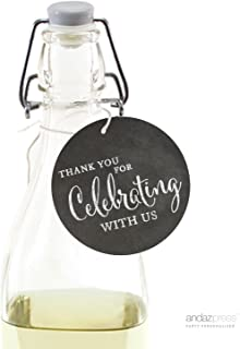 Andaz Press Wine Bottle Circle Gift Tags, Vintage Chalkboard Style, Thank You for Celebrating With Us, 24-Pack, For Baby Bridal Wedding Shower, Anniversary Celebration, Graduation, Outdoor Event, Picnic, Luau, Christmas Hanukkah Holiday Party, Sweet 16 Quinceanera Birthday, Kids Birthday Party, Baptism, Christening, Confirmation, Communion Party Favors, Gifts, Boxes, Bags, Treats and Presents