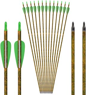Carbon Arrow Camo Practice Hunting Arrows with Removable Tips for Archery Compound & Recurve & Traditional Bow (Pack of 12)