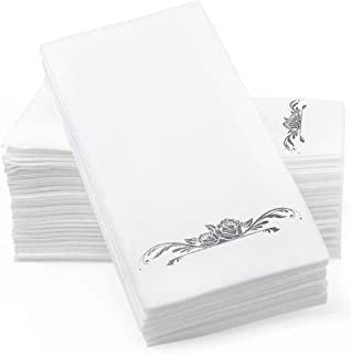 "Silver Foil Stamped Airlaid Paper Dinner Napkins – 1/6 Fold 12""x17"" Disposable Guest Hand Towels - Absorbent, Linen-Like F..."